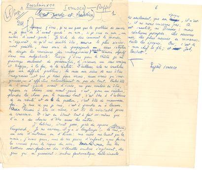 Eugène IONESCO (1912-1994). Manuscrit autographe...