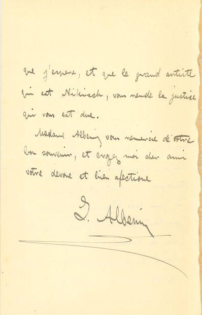 Isaac ALBENIZ (1860-1909). L.A.S., [Paris], à un ami; 2pages in-8 à son adresse...