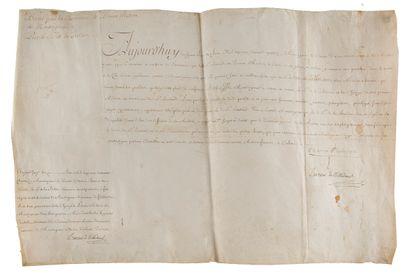 ROIS. 3 P.S. sur parchemin, XVIIIe siècle....
