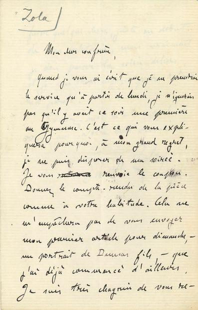Émile ZOLA. L.A.S., [4 avril? 1876], à un...