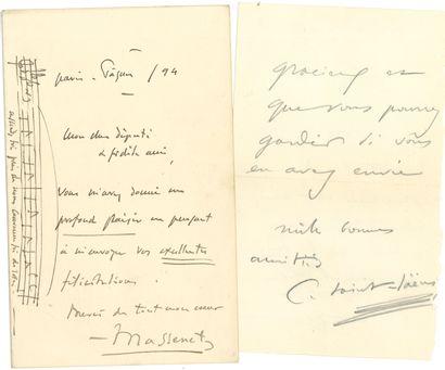 MUSIQUE. 14 L.A.S. Jules Massenet (avec citation...