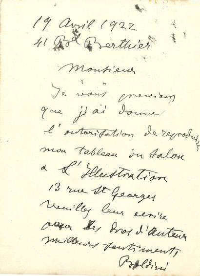 Giovanni BOLDINI (1842-1934). L.A.S., [Paris] 19 avril 1922; 1page in-8. On joint...