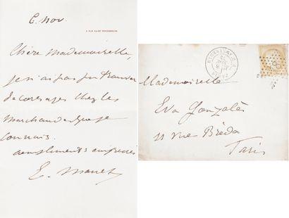Édouard MANET (1832-1883). L.A.S., 4 rue...