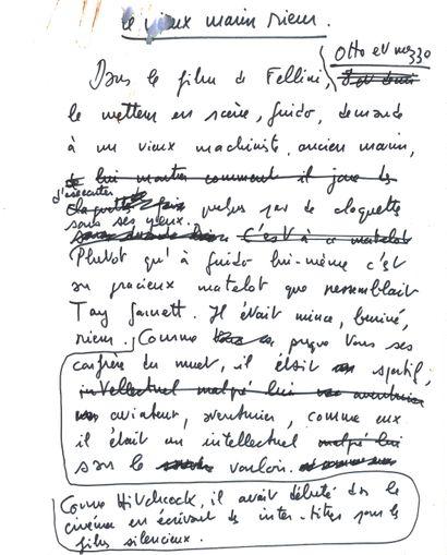 François TRUFFAUT (1932-1984). Manuscrit...
