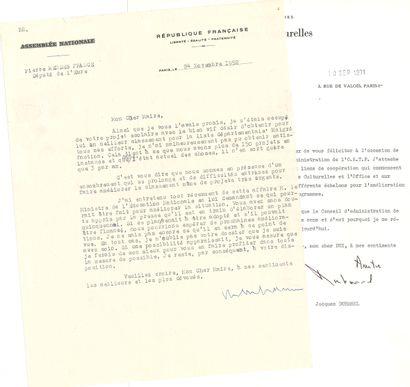 DIVERS. 5 L.S. (dont une L.A.S.), 1952-1977, la plupart à Pierre Dux. Bruno Coquatrix,...
