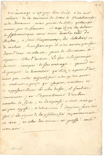 """Denis DIDEROT (1713-1784). L.A., to a """"very dear brother"""" [D'Alembert?] ; 1 page..."""