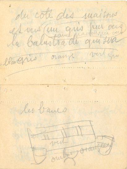 Raoul DUFY (1877-1953). Manuscrit autographe avec 2 dessins originaux, au crayon;...