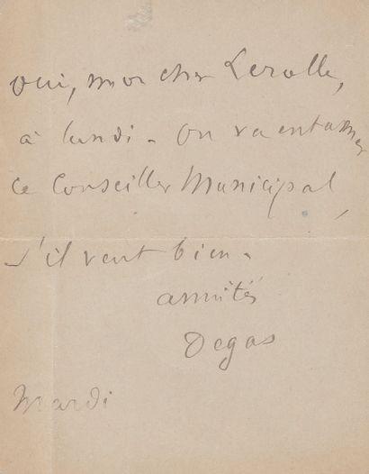 Edgar DEGAS. L.A.S., mardi, à Henri Lerolle; 1page in-12, adresse au verso (encadrée)....
