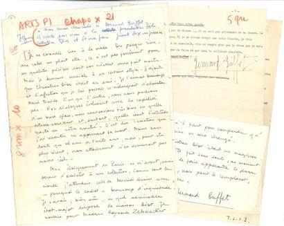 Bernard BUFFET (1928-1999). 2 tapuscrits...