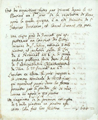 Ennius-Quirinus VISCONTI (1751-1818), archéologue, premier conservateur des antiques...