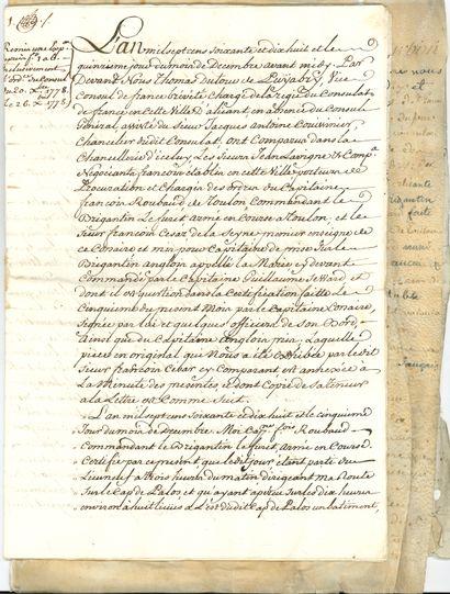corsaires. 2 documents manuscrits, [Alicante...