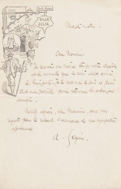 Armand SEGUIN (1869-1903). L.A.S., Pont-Aven mardi matin, [à Édouard Marty]; 1page...