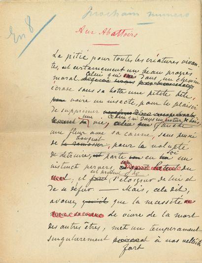 Hugues LE ROUX (1860-1925). Manuscrit autographe...