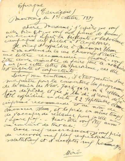 Joan MIRó (1893-1983). 2 L.A.S., Montroig 1932-1933, à une dame; 1page et demie...