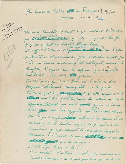 Steve PASSEUR (1899-1966). 3 manuscrits autographes...