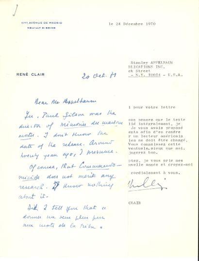 René CLAIR (1898-1981) cinéaste. 5 L.S. et...