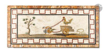 Mosaïque rectangulaire présentant deux palmipèdes...