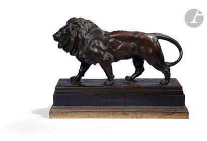 Antoine-Louis Barye (1796-1875) Lion qui...