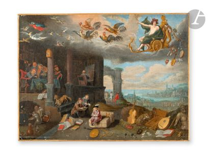 FLEMISH SCHOOL circa 1700, follower of Jan BRUEGHEL the Younger Allegory of the...