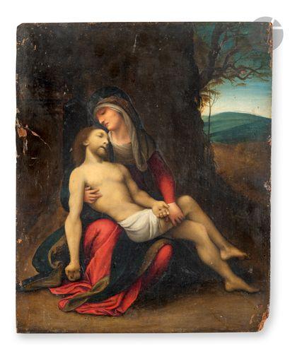 École de PARME vers 1580 Lamentation sur le christ mort Panneau de peuplier, une...