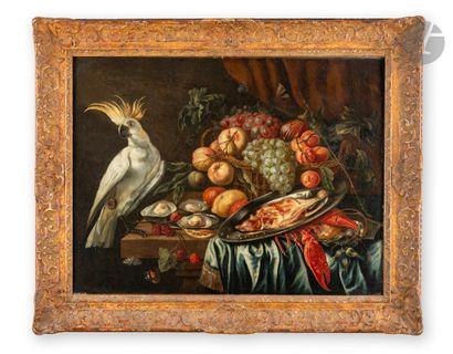 Dans le goût d'Abraham van BEYEREN Nature morte au homard, huîtres, cacatoès etcorbeille...