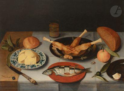 Jacob van HULSDONCK (Anvers 1582- 1647) Nature morte au hareng Panneau de chêne,...
