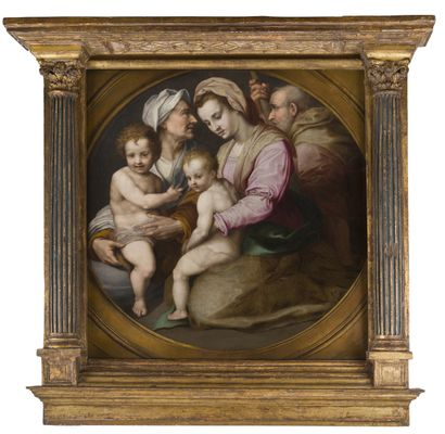 École FLORENTINE vers 1600, d'après Andrea del SARTO La Sainte Famille avec sainte...