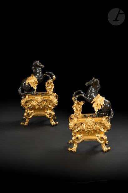 Paire de chenets aux chevaux cabrés en bronze...