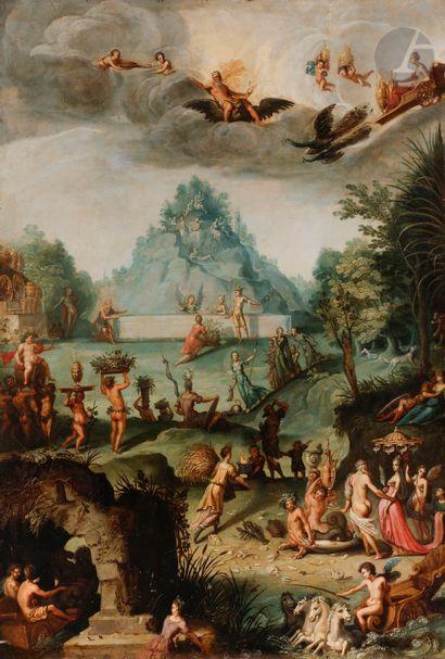 Attribué à Adriaen van STALBEMT (1580 - 1662) L'Olympe Cuivre Cadre en bois sculpté...