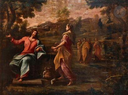 École de Ferrare du XVIIe siècle, entourage de Carlo BONONI Le Christ et la Samaritaine...