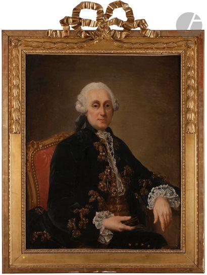 Attribué à Louis TOCQUE (1696 - 1772) Portrait présumé de Monsieur Rey Toile 92x73cm...