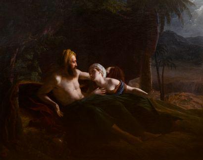 Louis HERSENT (Paris 1777 - 1860) Ruth et Booz Toile Monogrammée en bas à gauche...