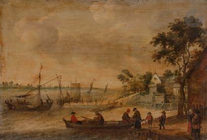Abraham WILLAERTS (Utrecht 1603 - 1669) L'embarquement de marchandises Panneau de...