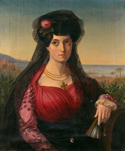 ATTRIBUE A Charles de STEUBEN (Bauerbach 1788 - Paris 1856) Portrait de femme en...