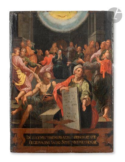 École FLAMANDE vers 1580, atelier de Jacob de BACKER La Pentecôte Panneau de chêne,...