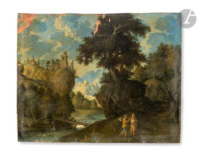 Attribué à Martin RYCKAERT (1587 - 1631) Voyageurs dans un paysage de rivière surplombée...