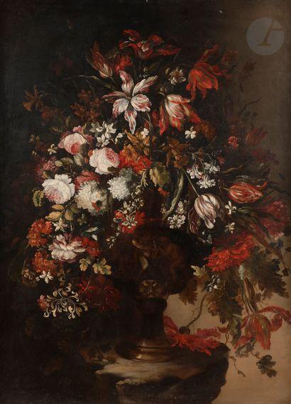 Dans le goût de Mario NUZZI Vase de fleurs sur un entablement Toile 133x98cm...