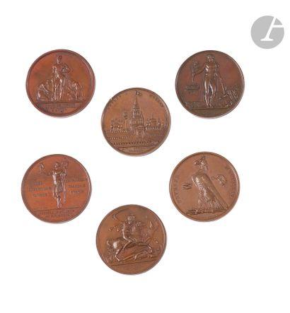 Suite de six médailles commémoratives du...