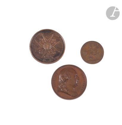 ROYAUTÉ Trois médailles : - En bronze. Avers...