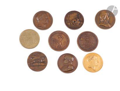 Ensemble de neuf médailles commémoratives...
