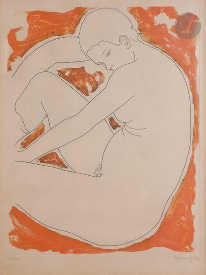Alain Bonnefoit (né en 1937) Femme nue assise....