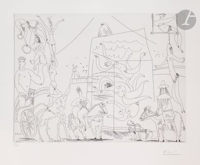 Pablo Picasso (1881-1973) Au cirque: acrobates,...