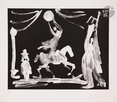 Pablo Picasso (1881-1973) Au cirque: écuyère,...