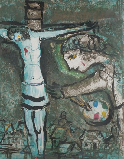 Marc Chagall (1887-1985) (after )Painter with a palette in front of a Christ on...