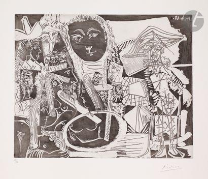 Pablo Picasso (1881-1973) Arlequin et personnages...