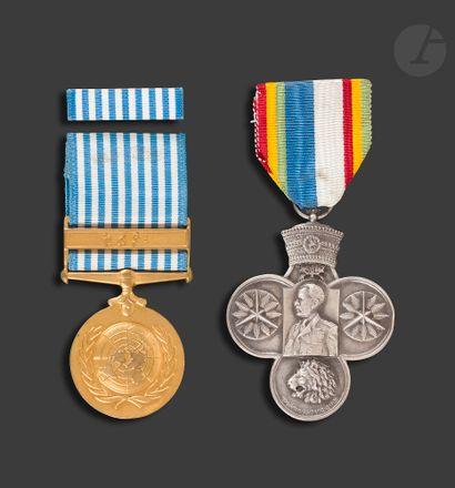 ÉTHIOPIE - ONU Deux médailles : - commémorative...