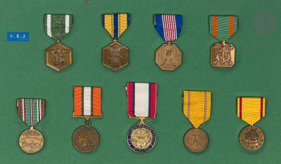 U.S.A. Ensemble de neuf médailles commémoratives...