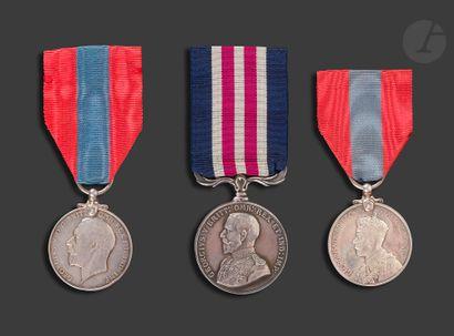 GEORGES V Trois médailles : - MILITARY MEDAL...