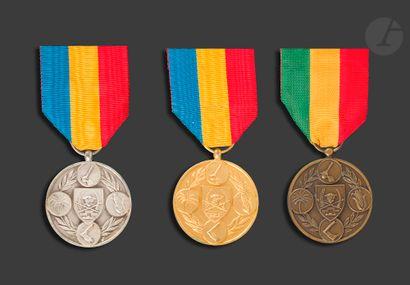 ZAÏRE - CONGO (République démocratique) Trois médailles du mérite agricole de rang,...