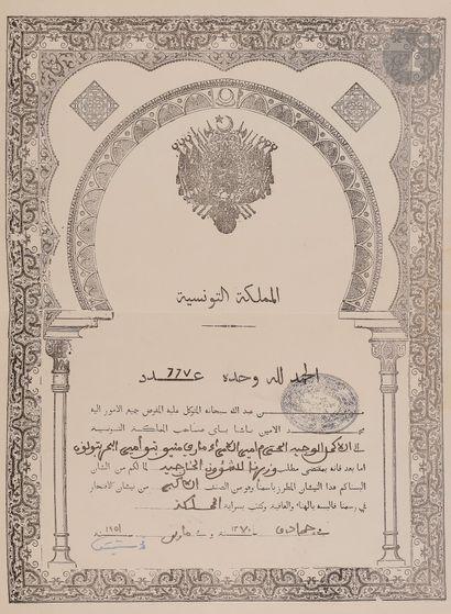 TUNISIE ORDRE DU NICHAN IFTIKHAR. Ensemble de grand-croix du Vice-Amiral POTHUAU...